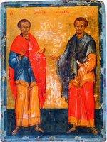 Святые Косма и Дамиан. Икона-таблетка. 2-я четв. XV в. (СПГИАХМЗ)