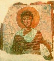 Вмч. Димитрий Солунский. Фреска из ц. свт. Николая в Мелнике. Кон. XII — нач. XIII в. (НИМ(С))