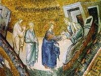 Иисус Христос исцеляет тещу ап. Петра. Мозаика кафоликона мон-ря Хора (Кахрие-джами) в К-поле. Ок. 1316-1321 гг.