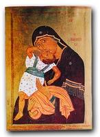 """Икона Божией Матери """"Взыграние младенца"""". 1422 г. Мастер Макарий Зограф (Худож. галерея Скопье)"""