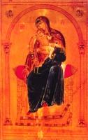 Богоматерь с младенцем типа Киккской на троне. Средник иконы. XII в. (мон-рь вмц. Екатерины на Синае)