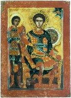 Вмч. Димитрий и мч. Нестор Солунские. Икона. 2-я пол. XVII в. (ризница мон-ря Хиландар на Афоне)