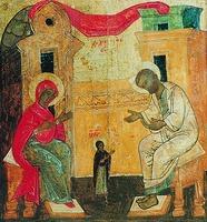 Первые шаги Марии. Клеймо иконы «Благовещение» из Благовещенского собора Сольвычегодска. XVI в. (СИХМ)