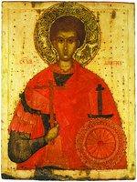 Вмч. Димитрий Солунский. Икона. 2-я четв. XV в. (ГРМ)
