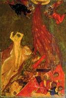 Разрушение Содома. Фрагмент иконы «Троица с бытием». Ок. 1600 г. (ГТГ)