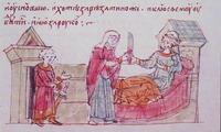 Рогнеда, Супруга кн. Владимира, покушается на жизнь мужа. Миниатюра из Радзивиловской летописи Кон. XV в. (БАН. 34.5.30. Л. 163)