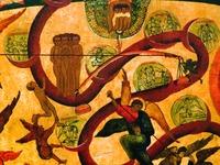 Изображения грехов. Фрагмент иконы «Страшный Суд». 1914 г. Копия А. С. Суслова иконы нач. XVI в. из собр. А. В. Морозова (ГИМ)