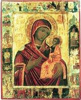 Иверская икона Божией Матери, с клеймами Сказания. 50-е гг. XVII в. (ГИМ, музей «Новодевичий монастырь»)
