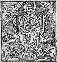 Равноап. кн. Владимир на престоле. Гравюра из «Анфологиона» Львов, 1638. Л. 503 (РГБ)