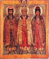 Равноап. кн. Владимир, святые князья Борис и Глеб. Икона. 1675 г. (ГМЗК)