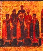 Равноап. кн. Владимир (в 1-м ряду в центре). Фрагмент иконы «Походная церковь». 70-е гг. XVI в. (ТОКГ)