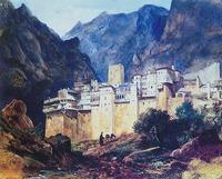 «Монастырь св. Павла на Афонской горе». Ж. Гюе. 1835 г. Акварель (ГМИИ)
