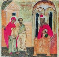 Отвержение даров праведных Иоакима и Анны. Клеймо иконы «Благовещение» из Благовещенского собора Сольвычегодска. XVI в. (СИХМ)