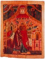 Встреча праведных Иоанна и Анны (Зачатие Богородицы). Икона. Кон. XVI в. (ЦМиАР)
