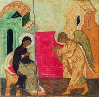 Благовестие арх. Гавриила Богородице об успении. Клеймо иконы