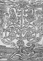 «Род правых благословится». Фрагмент гравюры из книги архиеп. Лазаря (Барановича) «Меч духовный» К., 1666. Л. 2 об. (РГБ)